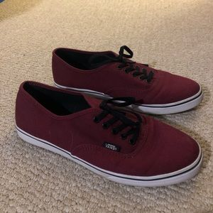 Maroon and Black Vans Sneakers size 8.5